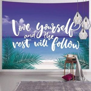 Ocean Beach Tapestry Palm Tree Love Yourself